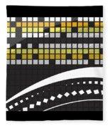 Abstract Crossword Puzzle Squares On Black Fleece Blanket