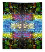 Abstract Digital Shapes Colourful Stained Glass Texture Fleece Blanket