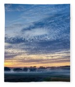 Abstract Early Morning Sunrise Over Farm Land Fleece Blanket