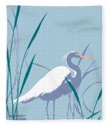 abstract Egret graphic pop art nouveau 1980s stylized retro tropical florida bird print blue gray  Fleece Blanket