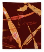 Abstract Feathers Falling On Brown Background Fleece Blanket