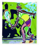 Abstract Female Tennis Player 2 Fleece Blanket