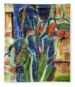 Abstract Floral Fleece Blanket
