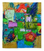 Abstract Flowers On Gold Contemporary Impressionist Palette Knife Oil Painting By Ana Maria Edulescu Fleece Blanket