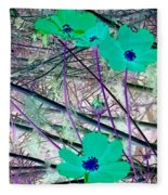 Abstract Flowrs In Green And Blue Fleece Blanket
