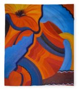 Abstract In Orange And Blue Fleece Blanket
