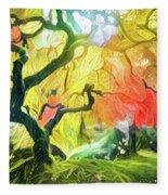 Abstract Japanese Maple Tree 5 Fleece Blanket
