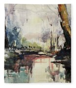 Original Watercolor Painting. Abstract Watercolor Landscape Painting Fleece Blanket