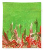 Abstract Mirage Cityscape In Green Fleece Blanket