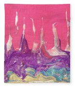 Abstract Mirage Cityscape In Pink Fleece Blanket