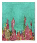 Abstract Mirage Cityscape In Turquoise Fleece Blanket