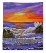 Abstract Ocean- Oil Painting- Puple Mist- Seascape Painting Fleece Blanket