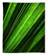 Abstract Of Green Leaf Of Exotic Palm Tree Fleece Blanket