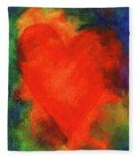 Abstract Orange Heart 2 Fleece Blanket