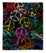 Abstract Peace Signs Collage Fleece Blanket
