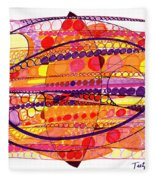 Abstract Pen Drawing Fourteen Fleece Blanket