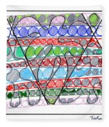 Abstract Pen Drawing Thirteen Fleece Blanket