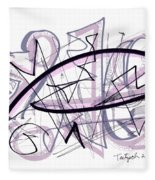 Abstract Pen Drawing Thirty-six Fleece Blanket