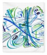 Abstract Pen Drawing Thirty-three Fleece Blanket