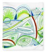Abstract Pen Drawing Thirty-two Fleece Blanket