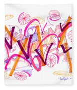 Abstract Pen Drawing Twenty-six Fleece Blanket