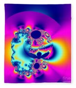 Abstract Pink And Turquoise Fractal Globe Fleece Blanket