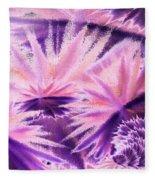 Abstract Purple Flowers Fleece Blanket
