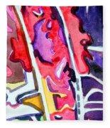 Abstract Red Bud Fleece Blanket