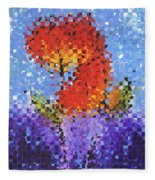 Abstract Red Flowers - Pieces 5 - Sharon Cummings Fleece Blanket