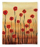 Abstract Red Poppy Field Fleece Blanket