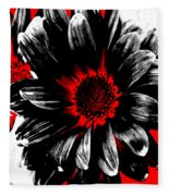 Abstract Red White And Black Daisy Fleece Blanket