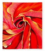 Abstract Rosebud Fire Orange Fleece Blanket