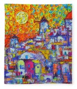 Abstract Santorini Oia Sunset Floral Sky Impressionist Palette Knife Painting  Ana Maria Edulescu Fleece Blanket