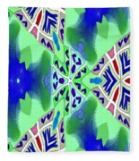 Abstract Seamless Pattern - Blue Green Turquoise Red White Fleece Blanket