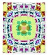 Abstract Seamless Pattern  - Yellow Green Blue Purple White Gray Fleece Blanket