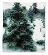 Abstract Snowy Trees Lighter Fleece Blanket