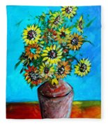 Abstract Sunflowers W/vase Fleece Blanket