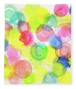 Abstract Watercolor Circles Fleece Blanket