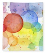 Abstract Watercolor Rainbow Circles Fleece Blanket