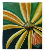 Abstract Yellow Sunflower Art Floral Painting Fleece Blanket