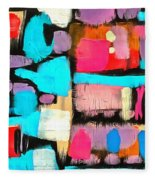 Abstract Wine Bottles Blue Red Fleece Blanket