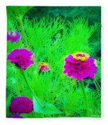 Abstract Zinnias In Green And Pink Fleece Blanket