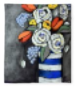 Abstracted Flowers - 3 Fleece Blanket