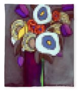Abstracted Flowers - 4 Fleece Blanket