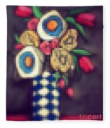 Abstracted Flowers- 5 Fleece Blanket