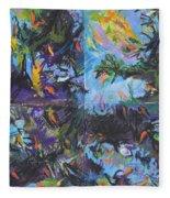 Abstracted Koi Pond Fleece Blanket