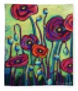 Abstracted Poppies Fleece Blanket