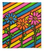 Aceo Abstract Flowers Fleece Blanket