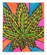 Aceo Cannabis Abstract Leaf  Fleece Blanket