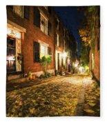 Acorn Street Autumn Boston Mass Painterly Fleece Blanket